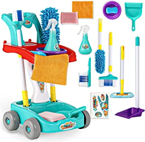 KLT Kids Cleaning Set, Pretend Play Detachable Housekeeping Cart, Cleaner Toddler Toys, Cleaning Supplies Toy for Kids Toddler Boy and Girl with Kids Broom Mop Dustpan Set Cleaning Tools 11 Pcs