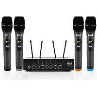 Pyle PDWM4120 - Sistema de micrófono inalámbrico UHF con Cuatro micrófonos inalámbricos con 50 Canales de frecuencia…