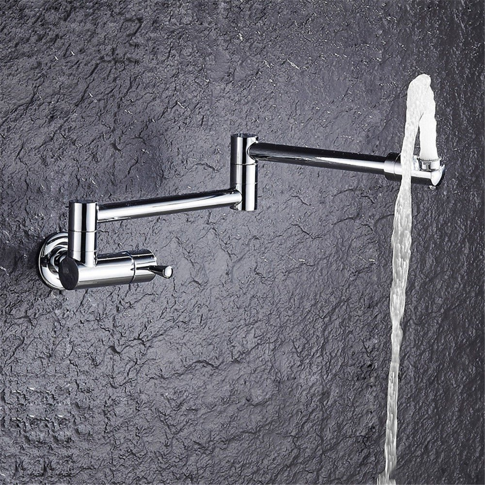 Commercial Pull Down Kitchen Sink Faucet Brass Constructed Polished,Modern Lengthen Mop Pool Faucet in-Wall Faucet Single Cold Balcony Faucet Laundry Pool Mop Pool Faucet Kitchen Wash Basin Faucet
