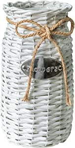 "Soyizom Decorative Container with rope design—Rattan Storage Basket Organizer—Hand-Woven Dried Flower Basket Vase—Rustic Farmhouse Wicker Planter Pot Can Vase for Wedding Kitchen Decoration,13""H/White"