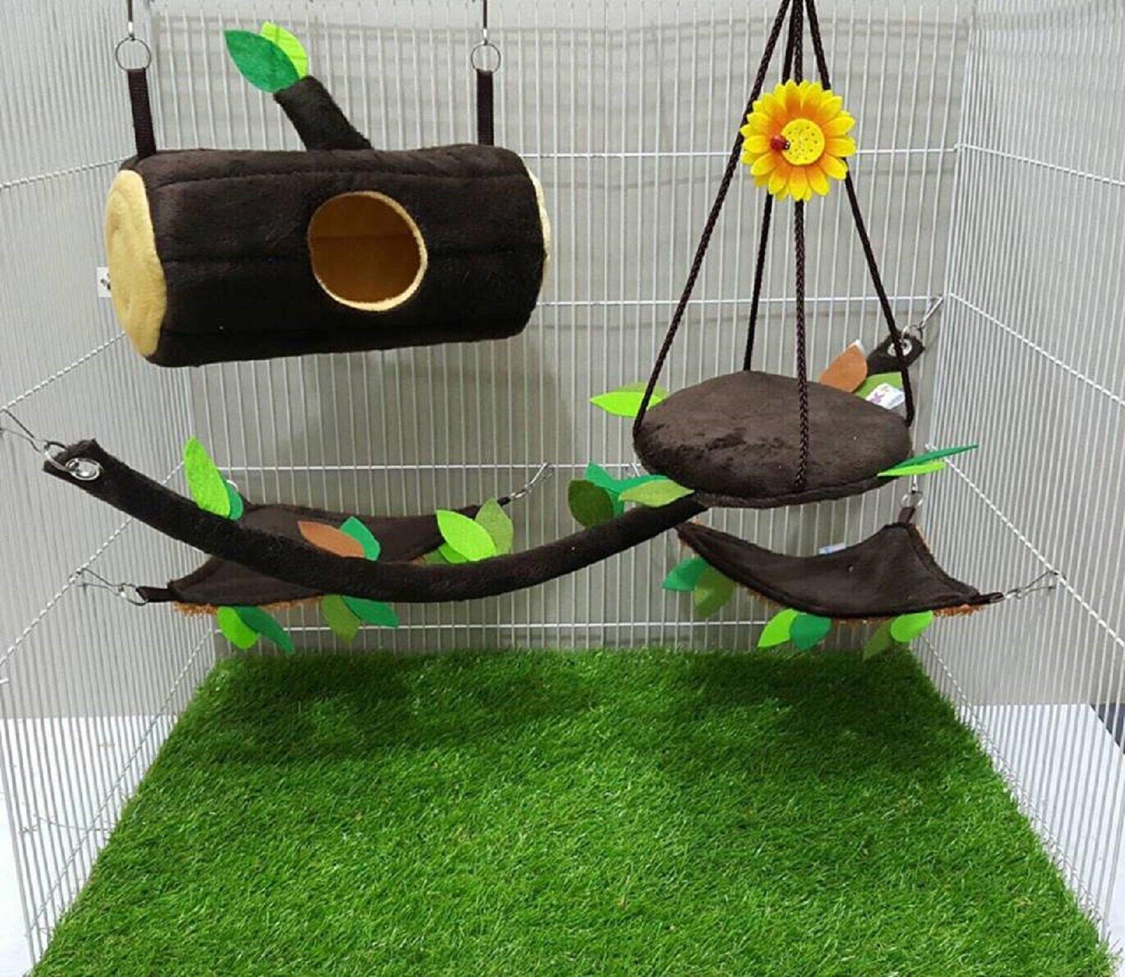 5 Pcs Sugar Glider Hamster Squirrel Chinchillas Small Pet Log Cage Set Forest Pattern Get Free 1 Small Pet Treats, Polar Bear's Republic