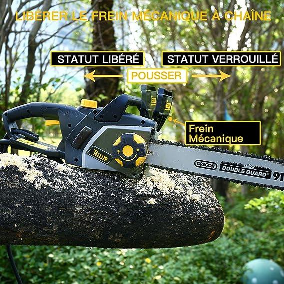 TECCPO Motosierra Eléctrica 2400W, Espada de 40 cm, Velocidad 15m ...