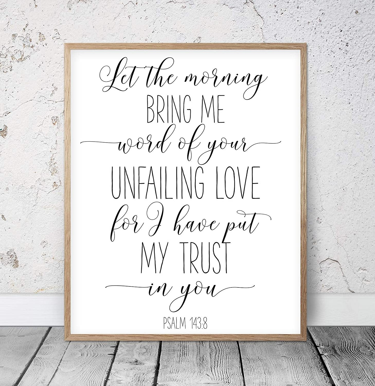daoyiqi Wood Pallet Plaque with Frame Let The Morning Bring Me Word of Your Unfailing Psalm 143:8, Bible Verse Printable Wall Art, Christian Gifts, Nursery Bible Quotes Scripture Quote Sign