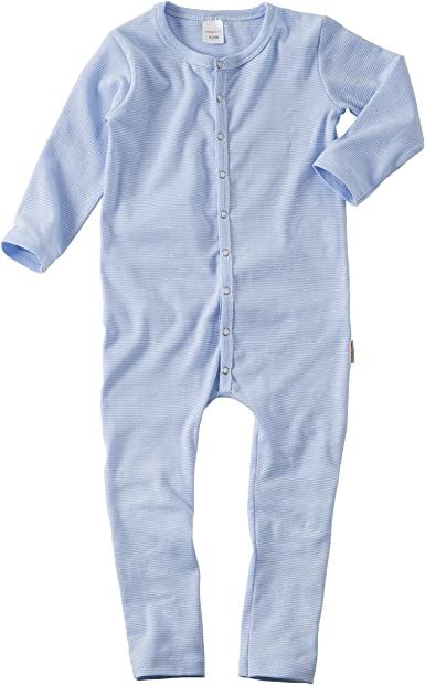 WELLYOU Pijamas, Pijamas para niños y niñas, una Pieza de Manga Larga, niños pequeños, Rayas Azul Celeste, Rayas, Finas 100% algodón Tallas 56-134