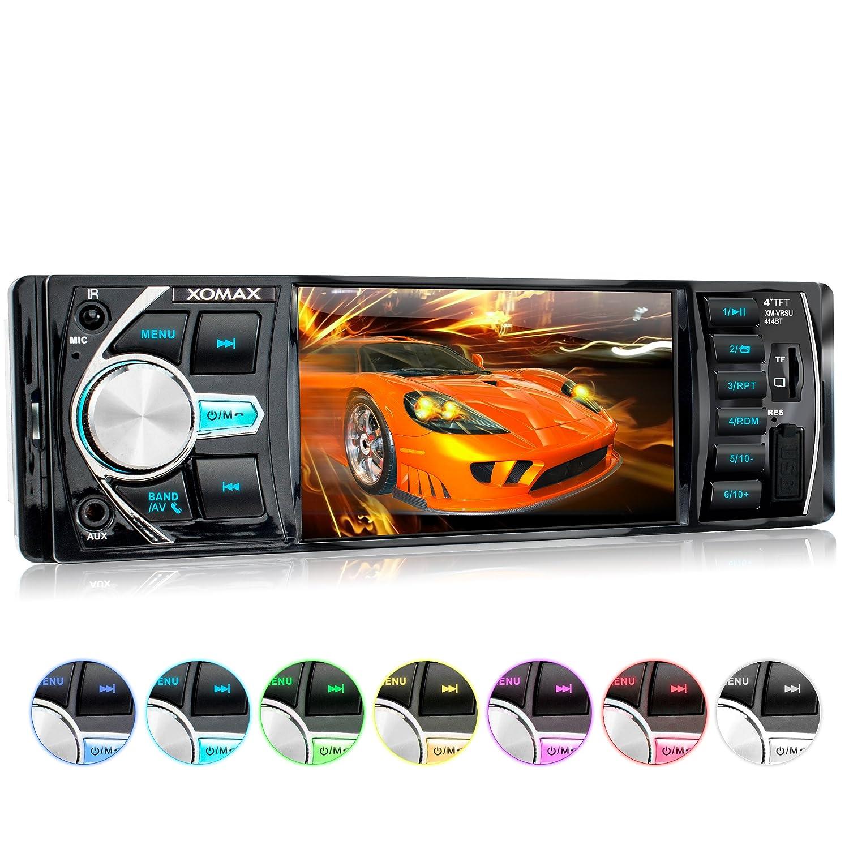 XOMAX XM-VRSU414BT Autoradio / Moniceiver + Screen da 10 cm / 4' HD + File audio e video: MP3 (inclusi tag ID3), WMA, MPEG4, AVI, ecc. + Funzione senza fili Bluetooth e riproduzione musicale tramite A2DP + 7 colore di illuminazione + Senza lettore CD + AUX