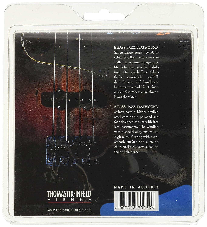 Thomastik Cuerdas para Bajo Eléctrico Jazz Bass Serie niquel entorchado plano juego 4 cuerdas JF344 escala larga 34