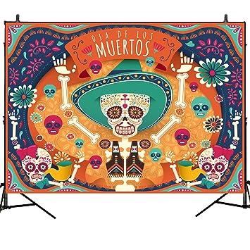 Mehofoto Day Of The Dead Backdrop Dia De Los Muertos Background Mexican Sugar Skull Calaca Photography