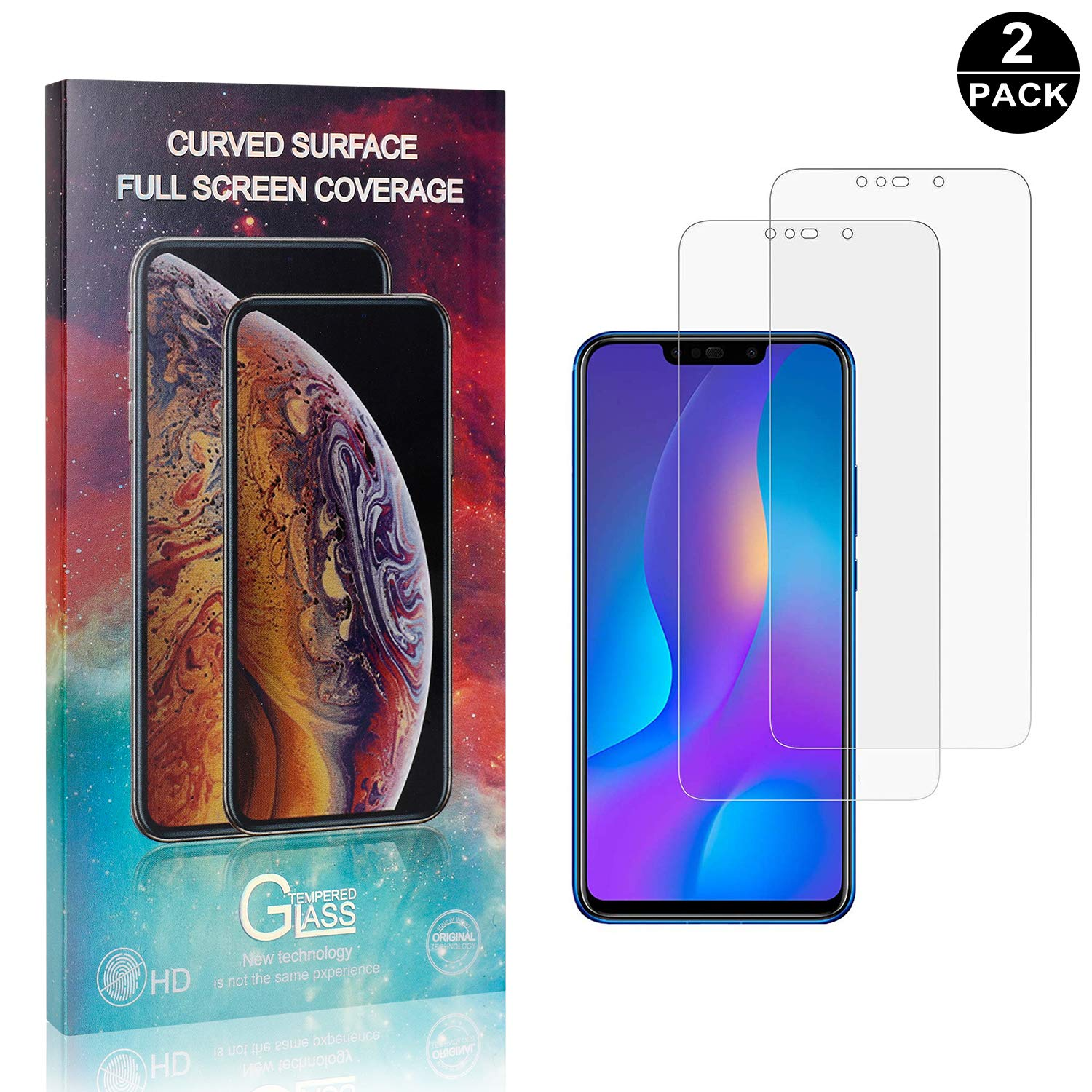 9H Tempered Glass Screen Protector Anti-Shatter Film for Huawei P Smart Plus Tempered Glass Film 9h HD UNEXTATI 2 Pack Screen Protector for Huawei P Smart Plus