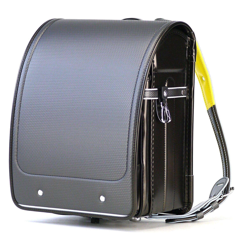 2019 ランドセル 男の子 ナース鞄工 81602 日本製 A4フラットファイル対応 学習院型 軽量 6年保証 (シルバーカーボン×イエロー) B073DX3JWT シルバーカーボン×イエロー シルバーカーボン×イエロー