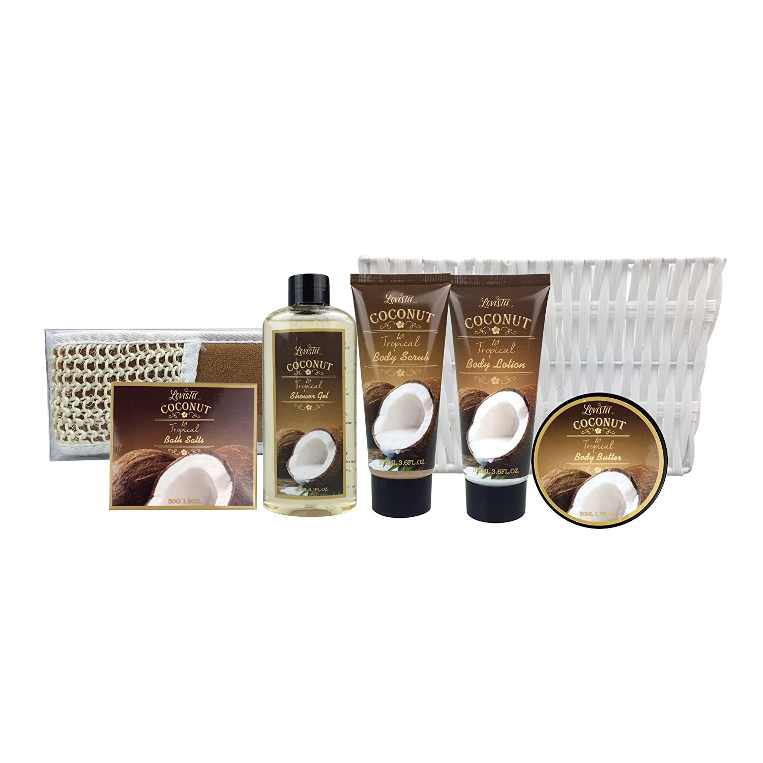 Amazon.com : Spa Gift Basket and Bath Set with Refreshing Coconut ...