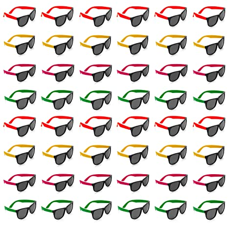 81bd27ff9f Neon Sunglasses with Dark Lenses - 48 Pack 80 s Style Unisex Aviators in  Assorted Colors -