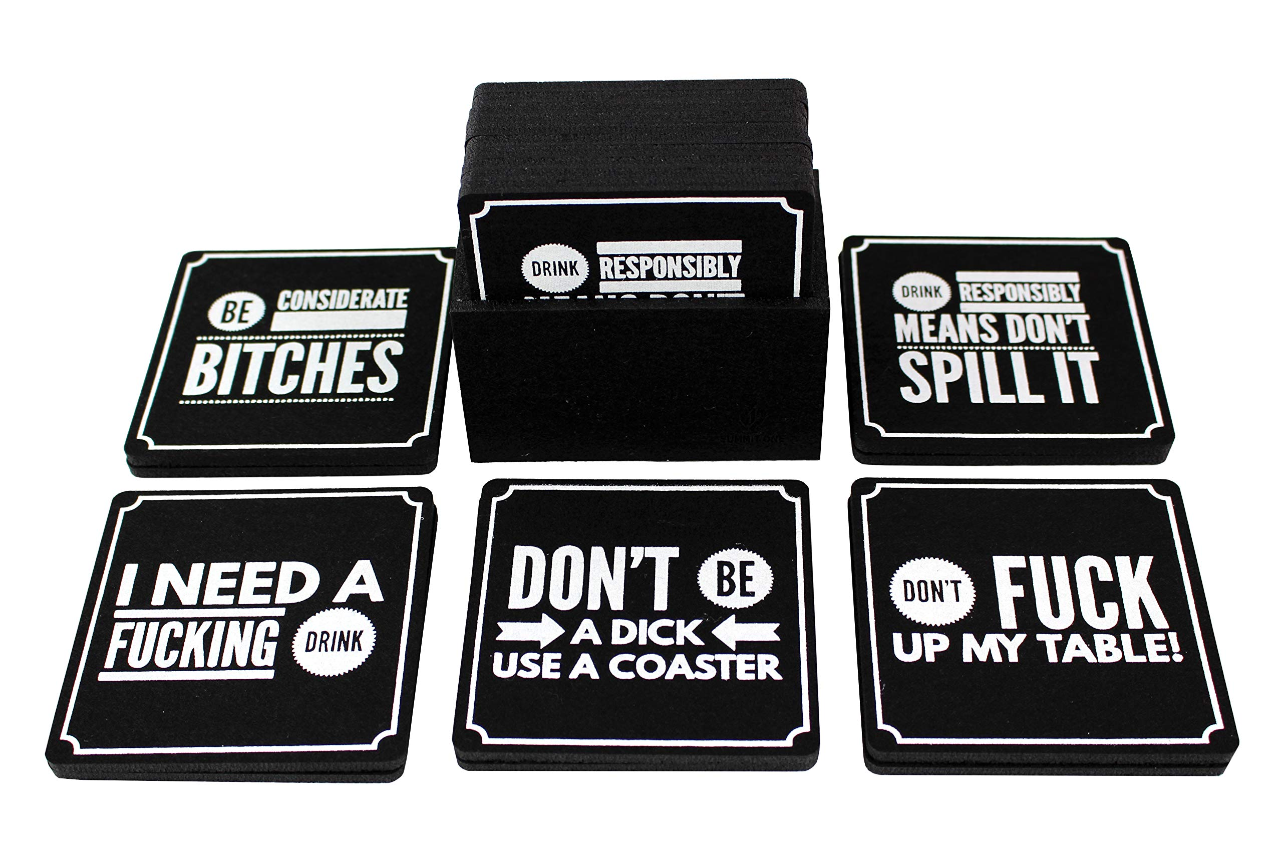 Summit One Funny Coasters for Drinks, Set of 10 (4 x 4 Inch, 5mm Thick) Premium Absorbent Felt Drink Coasters with Hilarious Quotes - Home Decor Gag Gifts for Women, Men - With Coaster Holder