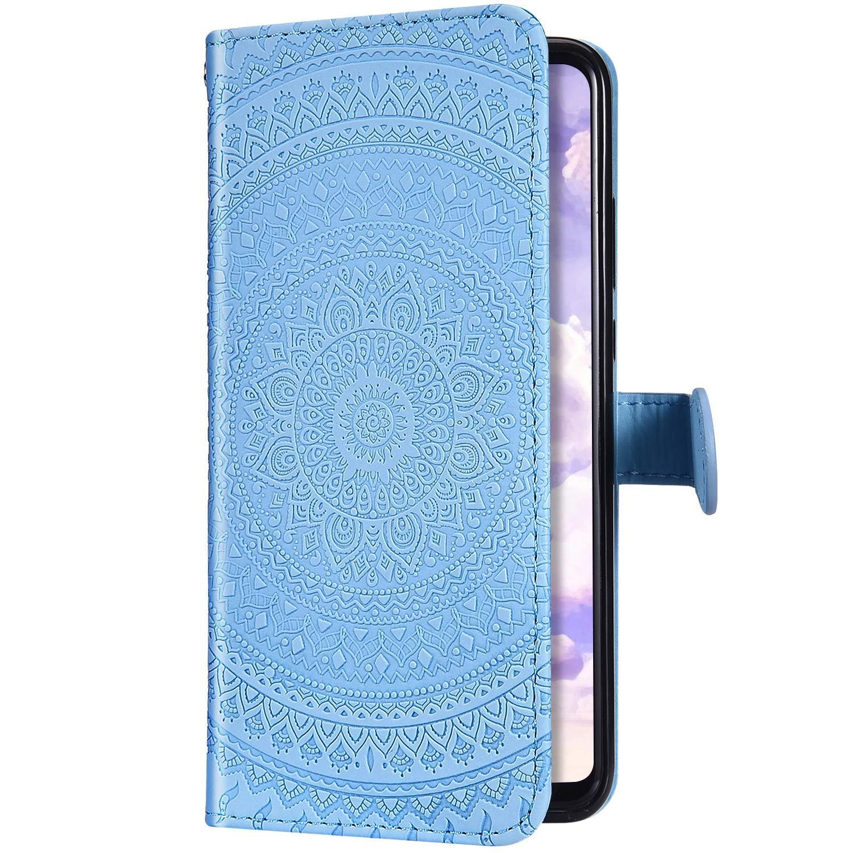 Surakey PU Leder H/ülle f/ür Samsung Galaxy A40 Handyh/ülle Schutzh/ülle Retro Mandala Blumen PU Leder Brieftasche Flip Case Wallet Tasche Ledertasche Handytasche St/änder Kartenf/ächer,Blau