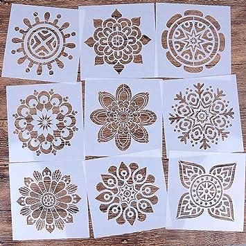 LOCOLO juego de 9 plantillas reutilizables de mandala (6 x 6 pulgadas), plantilla