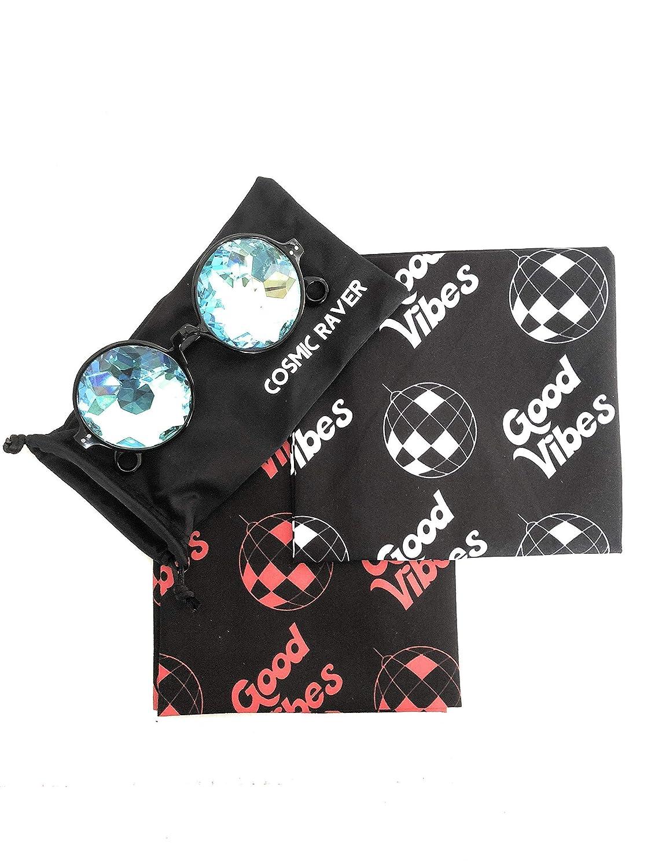 Round Kaleidoscope Glasses 2 Raver Bandannas for Dust EDM Music ...