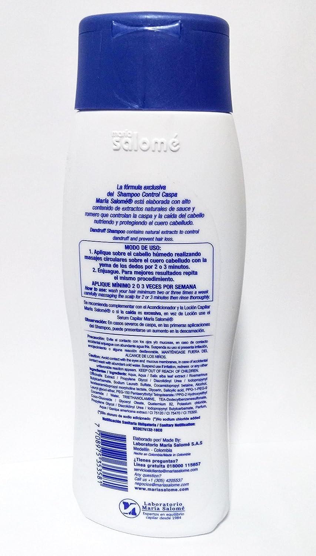Amazon.com : Maria Salome Shampoo Control Caspa Dandruff Control Sin Sal 400ml 13.5 fl Oz : Beauty