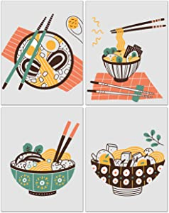 Ramen Prints - Set of 4 (11x14) Inches Glossy Japanese Noodles Bowls Chopsticks Traditional Asian Broth Food Meal Wall Art Decor