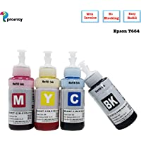 Proffisy Ink Refill for Epson T664 Compatible EcoTank L1300,L310,L361,L380,L405,L565,L365,L485,L220,L360,L130 (4 Color)