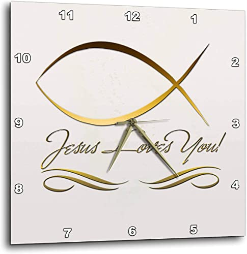 3dRose DPP_37576_3 Elegant Ichthus, Jesus Fish, and Jesus Loves You in Gold Letters on a Light Beige Background Wall Clock, 15 by 15-Inch