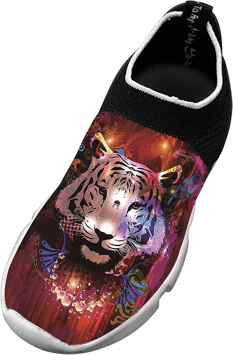 New Funny Flywire Knitting Jogging Shoes 3D Personalized With Tiger face For Unisex Kid