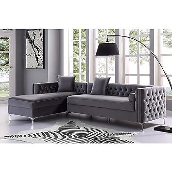 amazon com inspired home grey chaise sectional sofa design rh amazon com