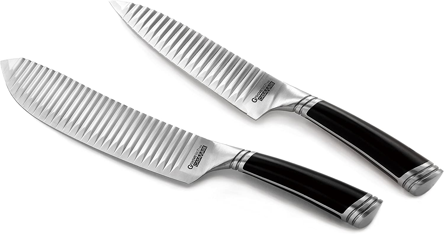 casaWare Groovetech 2-Piece Knife Set (6-Inch Chef and 8-Inch All Purpose Knife)