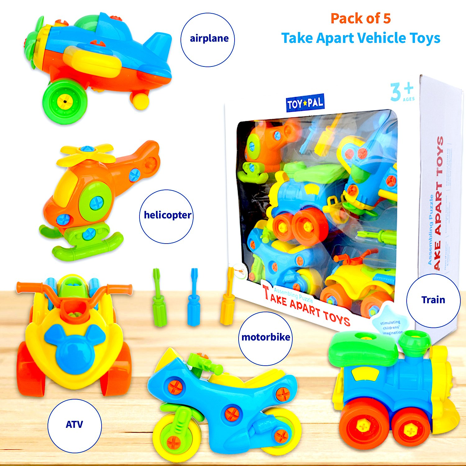 Take Apart Toys (pack of 5), STEM Learning Vehicles Play Set, Builds Problem Solving and Fine Motor Skills For Boys Girls Toddlers Age 3 4 5 6 Years Old | Gift Idea For Engineering, Building Toys Nimble Minds