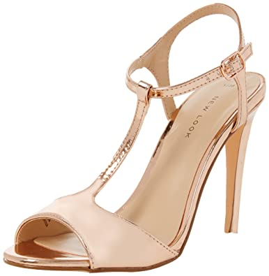 New Look Women's Shalot Open-Toe Heels, Gold (Gold), 6 UK