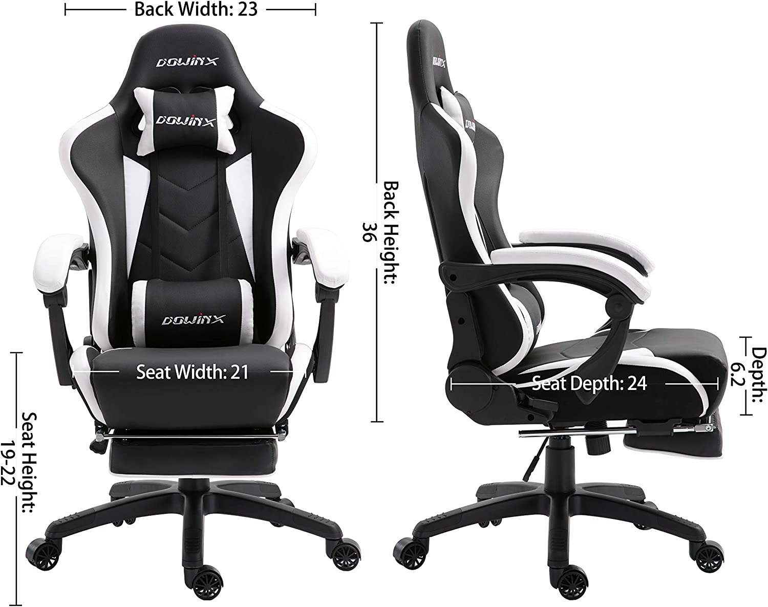 Black/&Red Office Armchair for Computer PU Leather E-Sports Gamer Chairs with Retractable Footrest Dowinx Gaming Chair Ergonomic Racing Style Recliner with Massage Lumbar Support