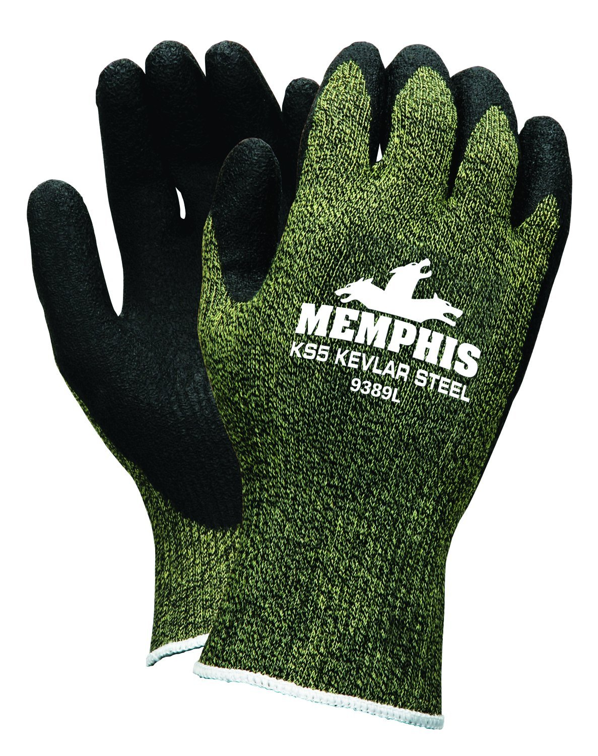 MCR Safety 9389XL KS-5 Kevlar/Stainless Steel 13 Gauge Men's Gloves with Latex Dip Palm and Fingers, Black, X-Large, 1-Pair