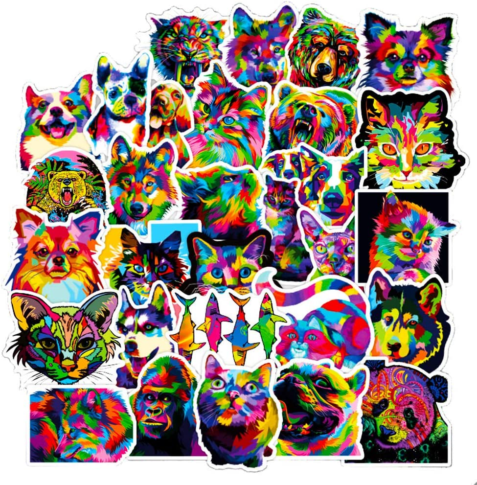 Cool Colorful Animals Art Stickers for Laptop Kids Dog Cats Hydroflasks Phone Computer Water Bottles Notebook Bike Bumper Skateboard Decals 50pcs