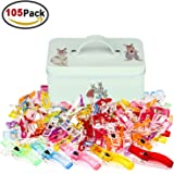 Homder 105 Pack Multicolor Wonder Clips Quilter Clamps with Tin Box for Sewing, Quilting, Crafters, Crochet, Knitting and Holding Paper