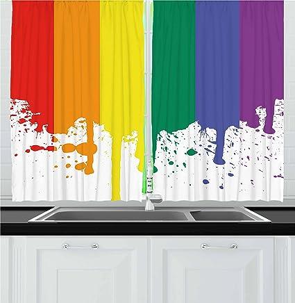 Amazon Com Ambesonne Rainbow Kitchen Curtains Rainbow Flag Pattern