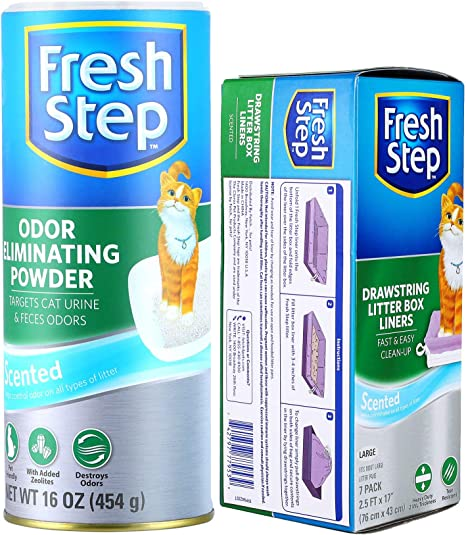 16 Ounces to Neutralize Cat Odors Fresh Step for Pets Deodorizing Pods for Cat Litter Box in Fresh Scent with Odor Eliminating Powder Combo Pack