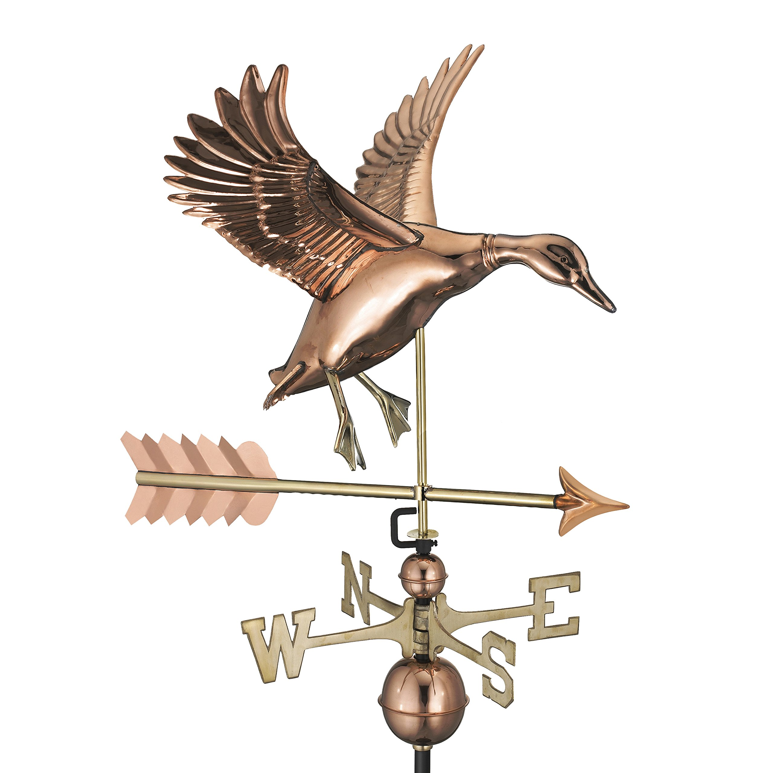 Good Directions Landing Duck with Arrow Weathervane - Pure Copper