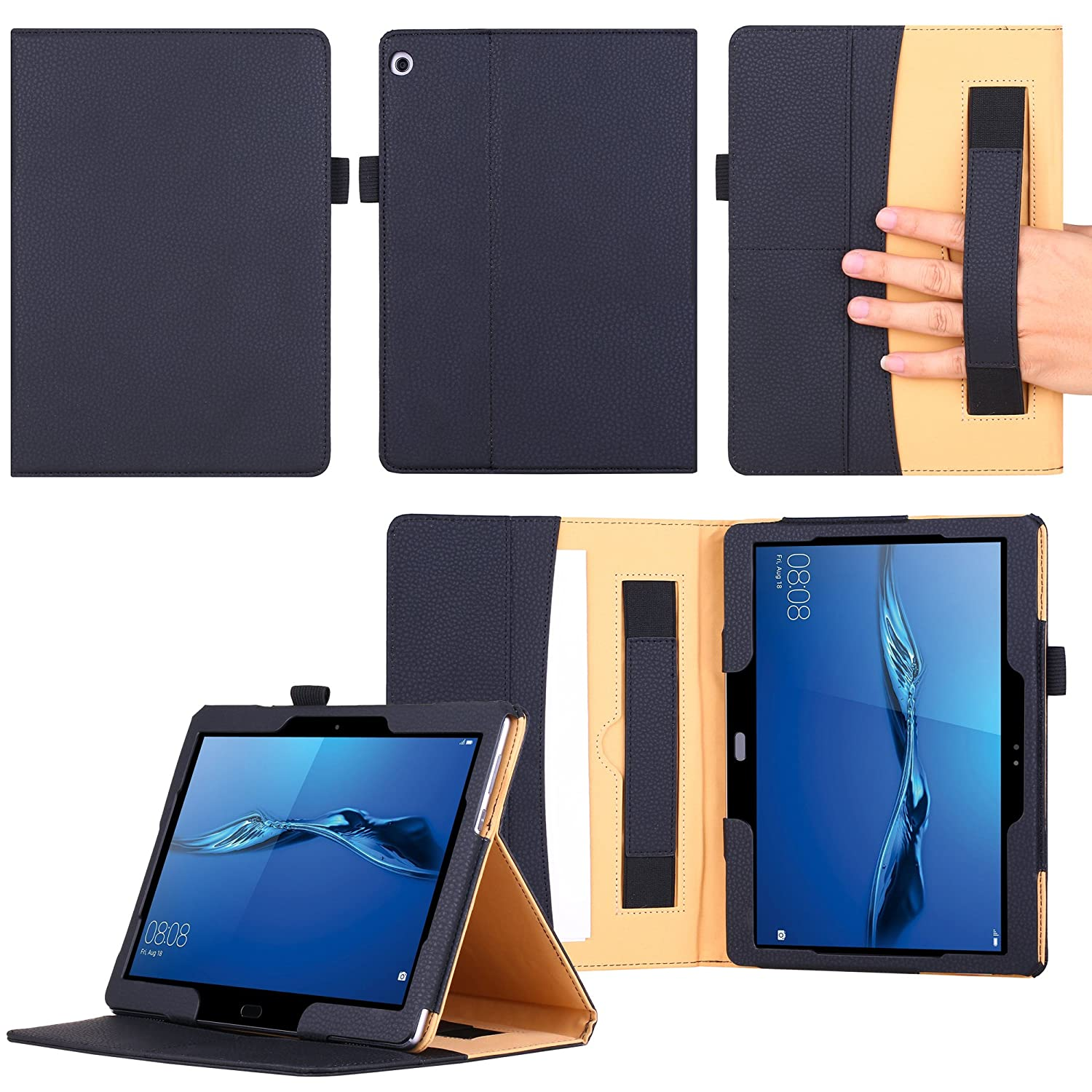 new product 1d313 bb2c2 Huawei MediaPad M3 Lite 10 Case,VOVIPO Premium Leather Cover Stand  Protective Folio Case For Huawei MediaPad M3 Lite 10 With Handstrap And  Cornor ...