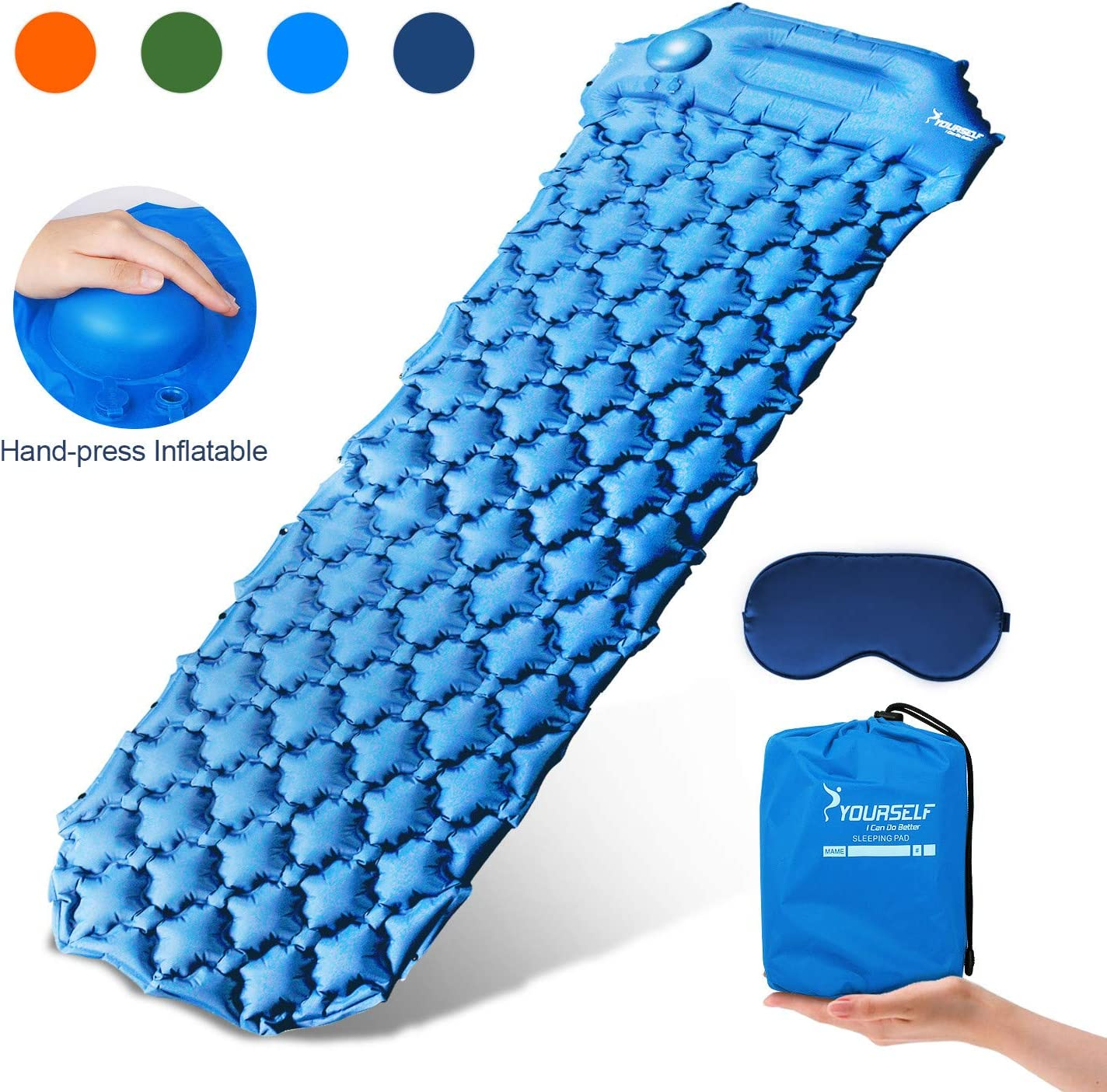 Ubon Ultralight Air Camping Pad,Foot Press Inflating Sleeping Pad Waterproof Air Sleeping Mat for Hiking,Camping,Beach Tent