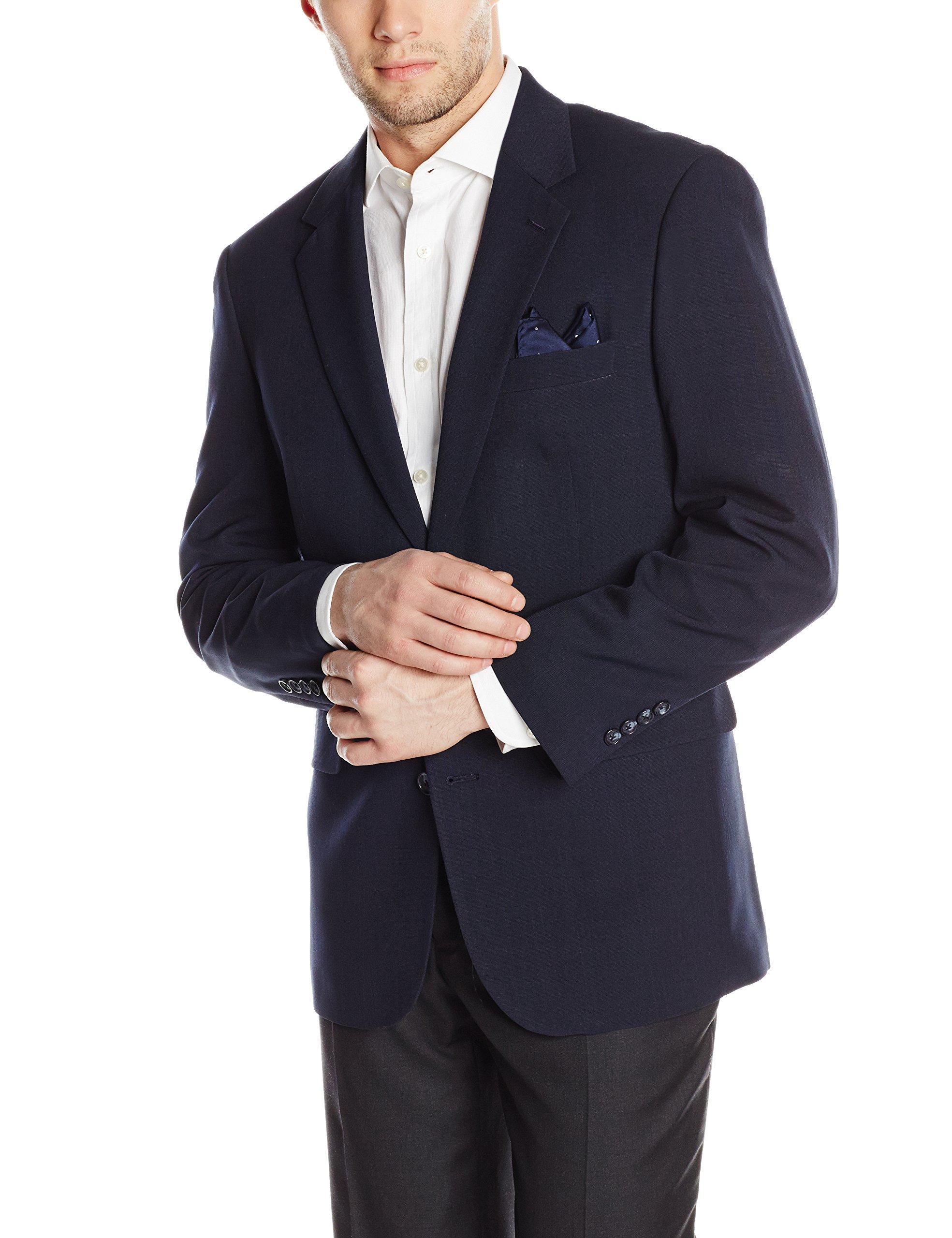 Louis Raphael Men's Tailored Classic Fit 2 Button Center Vent Jacket, Navy, 40 Regular