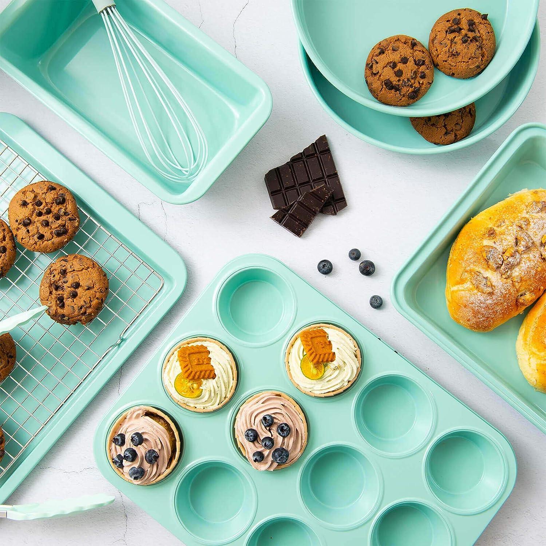 Rorence Bakeware Set Nonstick: Cookie Sheet, Rectangular Cake Pan, 2 Round Cake Pans, Muffin Pan, Loaf Pan & Cooling Rack - Set of 7 - Mint Green: Kitchen & Dining