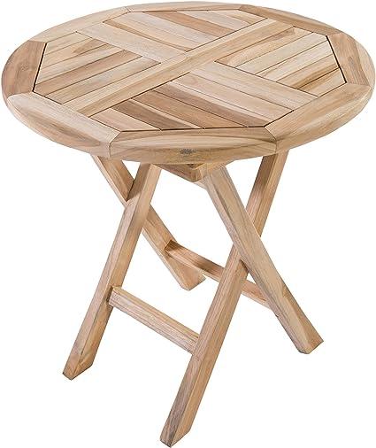 Amazon De Macoshopde By Maco Mobel Beistelltisch Gartentisch Aus Teak Holz 50 X 50 Cm Rund Holztisch Massiv