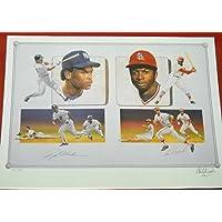 Rickey Henderson Lou Brock Autographed 18x24 Le Litho Stolen Base Legends - Autographed MLB Art photo