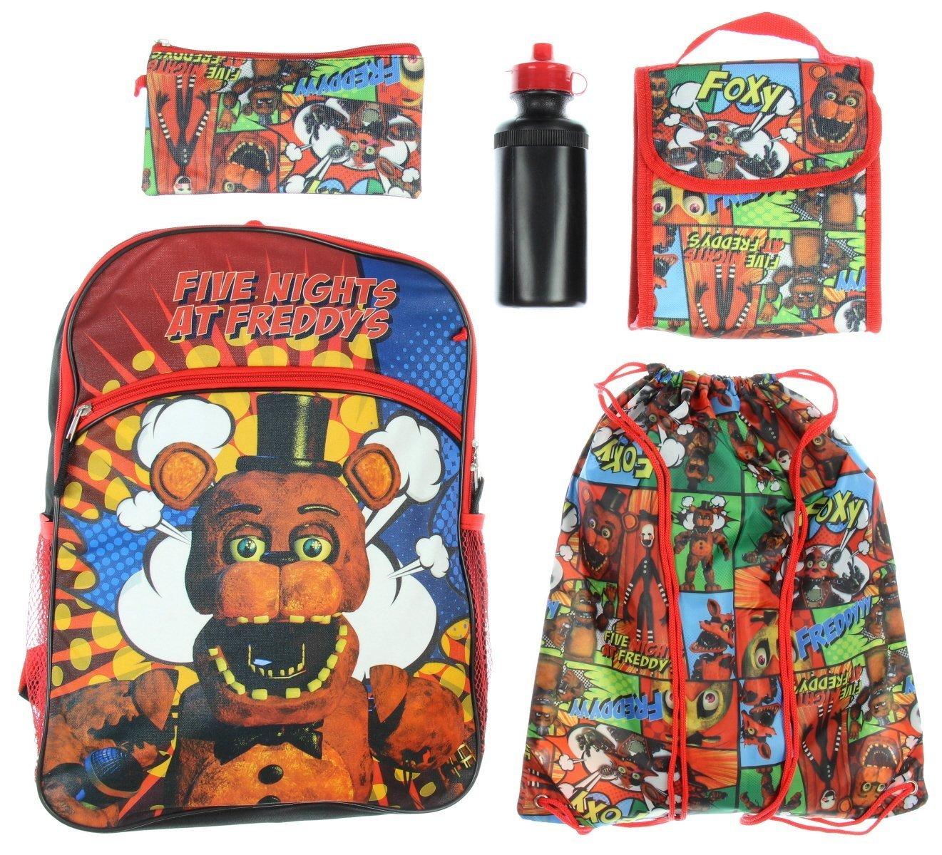 Five Nights At Freddys Backpack Kids 5 Pc Lunch Box Bott Funko Pop Fnaf Freddy Water Bottle Cinch Bag Set Backpacks