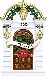 Brown Holiday House Door Ornament 2021 Christmas Ornaments – Charming Personalized Christmas Ornaments 2021 – Premium Polyresin Our First Home Ornament 2021 – Durable and Lightweight