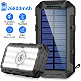 Solar Charger 26800mAh,GRDE Wireless Portable Solar Power Bank Panel Charger with 28 LEDs and 3 USB Output Ports…