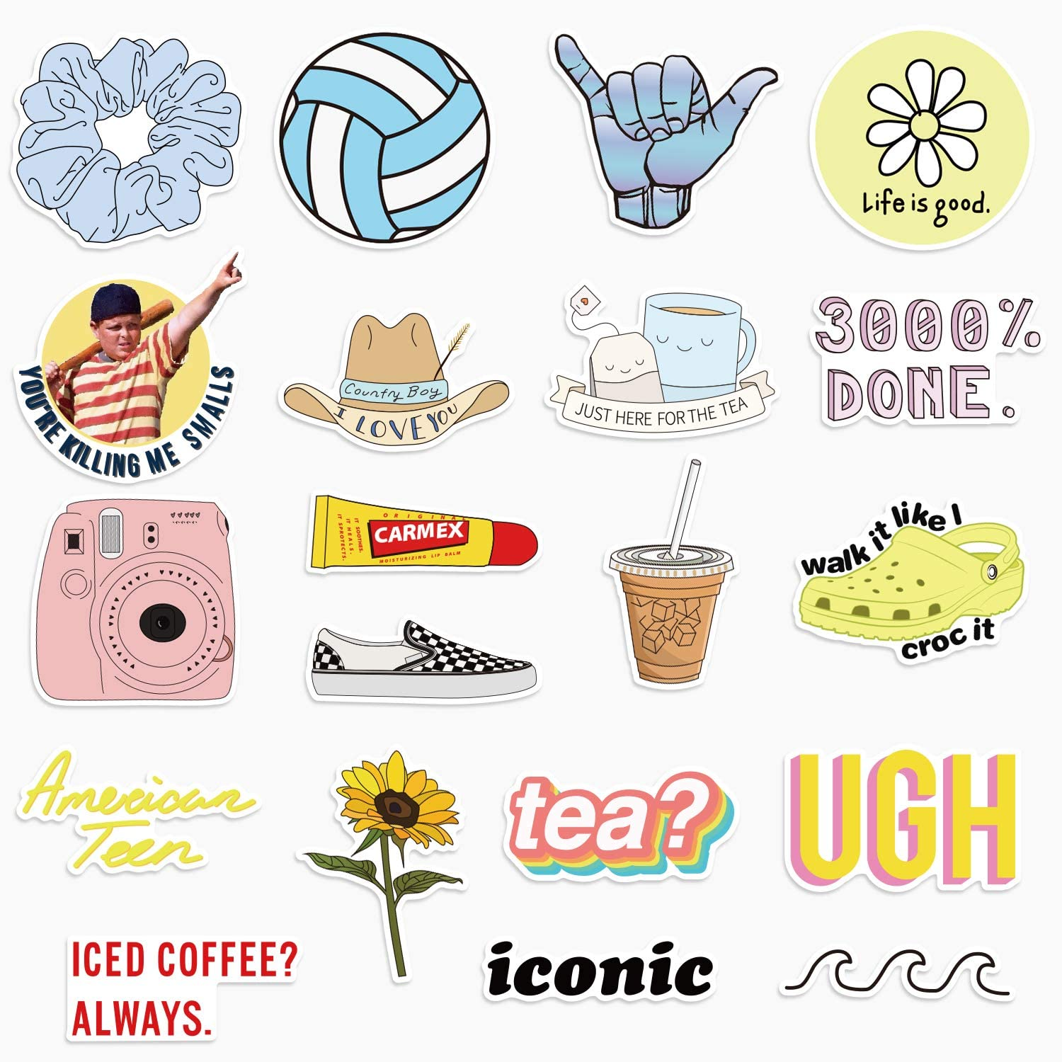 VSCO Laptop Stickers, 20 Pack Water Bottle Kawaii Stickers Cute Waterproof Aesthetic Car Vinyl Stickers