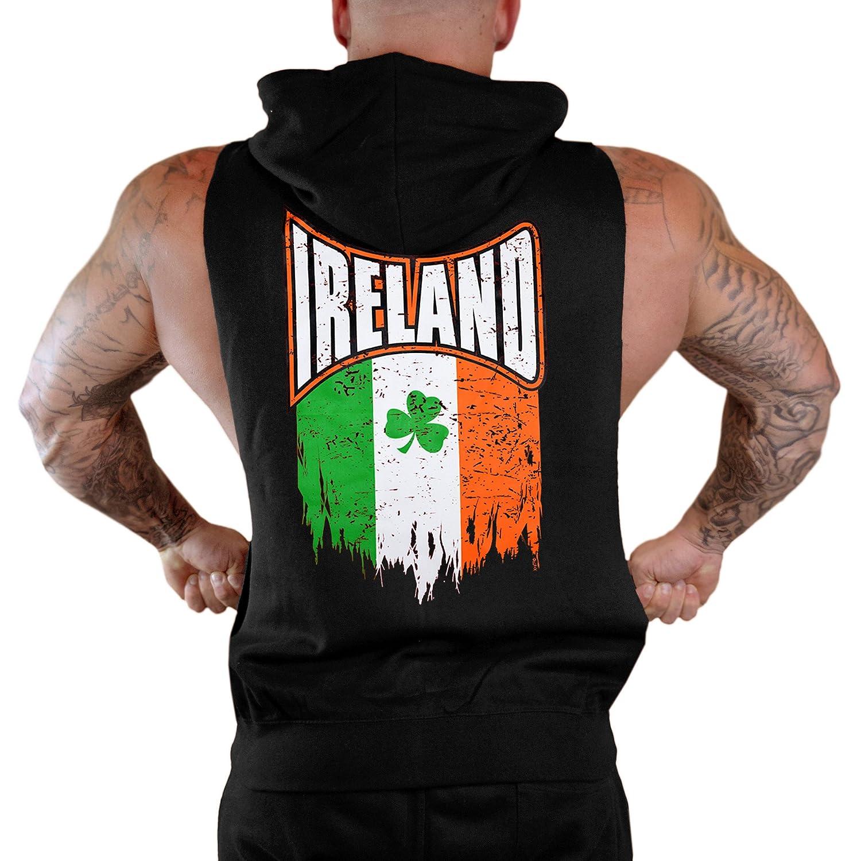 Mens Shredded Ireland Clover Flag Sleeveless Zipper Hoodie