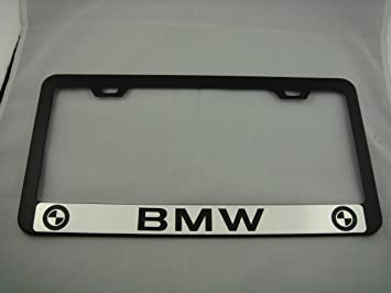& Amazon.com: BMW Black License Plate Frame w/ Black Caps: Automotive