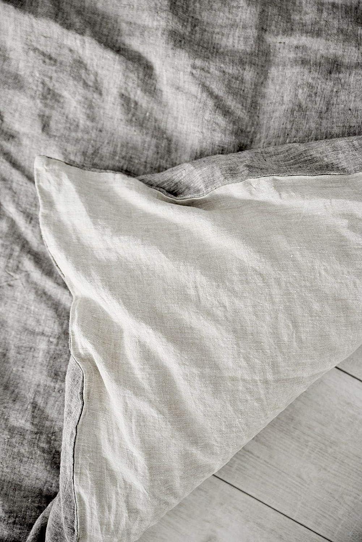 Ultra Soft Light /& Dark Linen Twin Beflax 100/% Natural French Linen Duvet Cover Farmhouse Design Stone Washed Light Grey//Brown Melange/