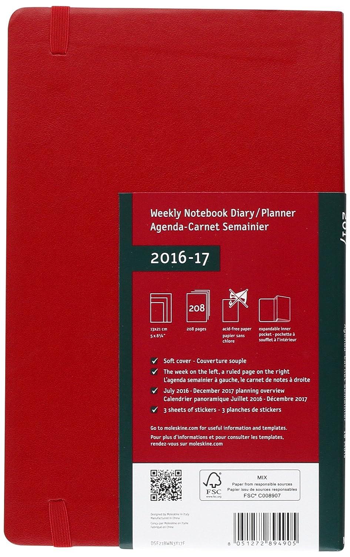 Moleskine DSF218WN3Y17 - Agenda semanal 18 meses, L 13 x 21, color rojo