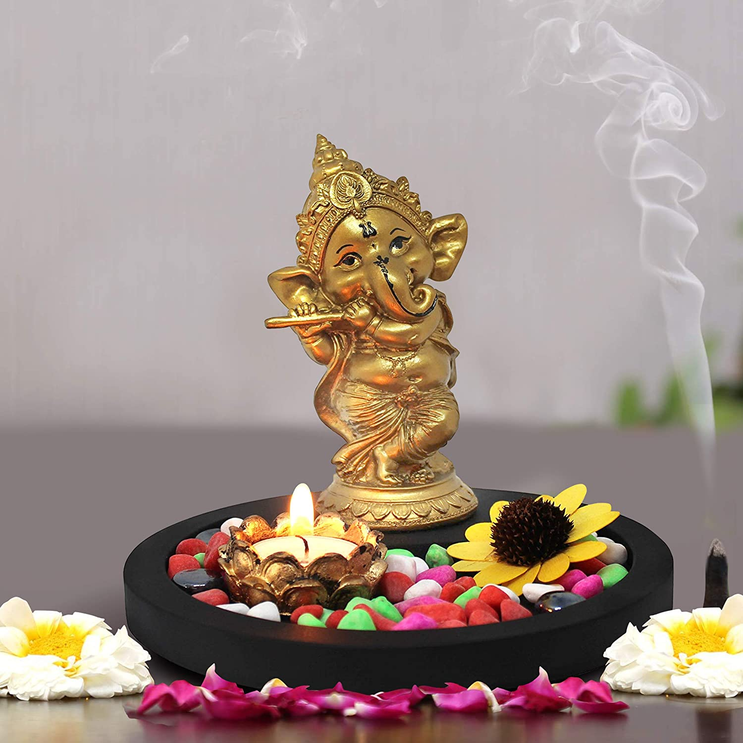 TIED RIBBONS Golden Ganesha Playing Bansuri Ganesh Idol for Gift | Diwali Gift Set | Home Decor Murti